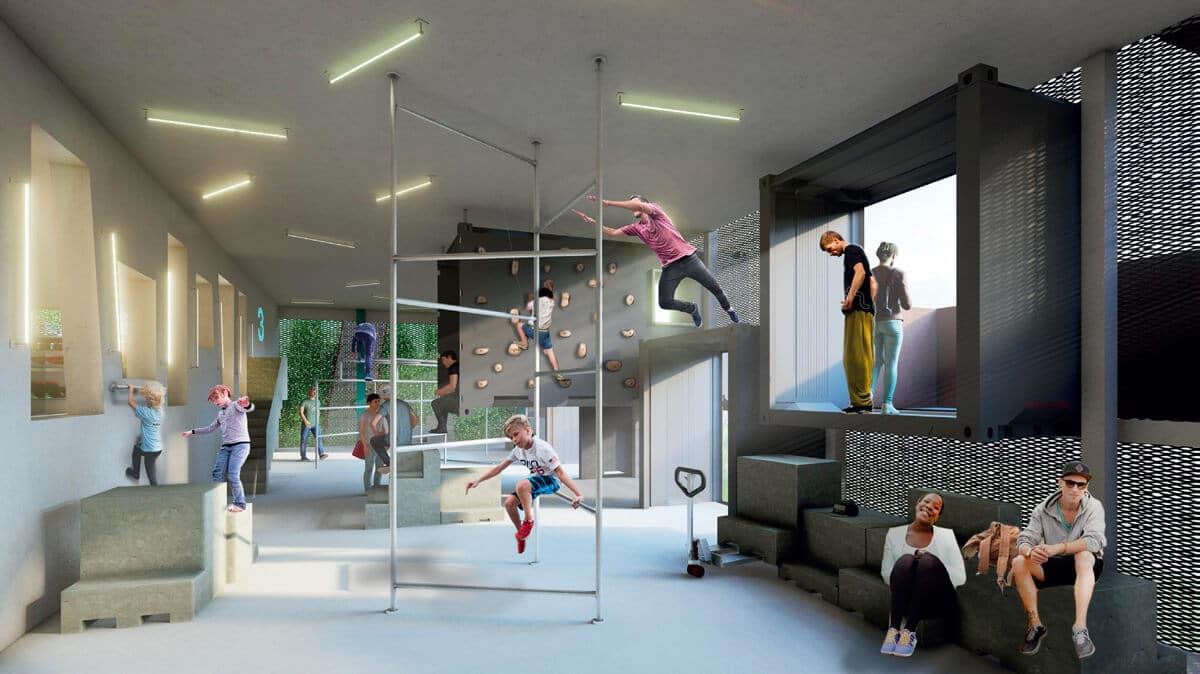 Ce projet est à la fois un parking, un lieu pour le sport et un espace propice aux loisirs créatifs