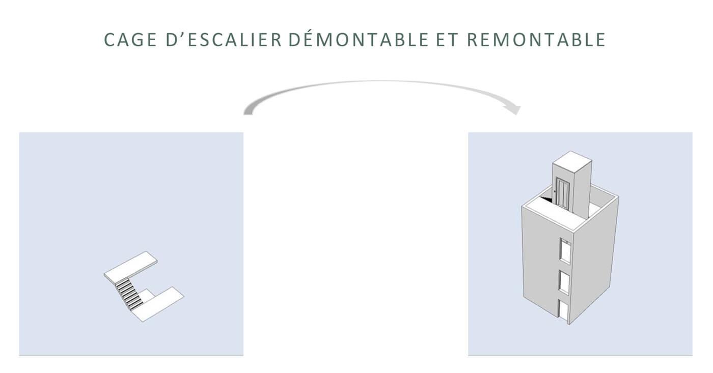 Immeuble parking réversible Astron : la cage d'escalier du parking se transforme en cage d'ascenseur de l'immeuble résidentiel