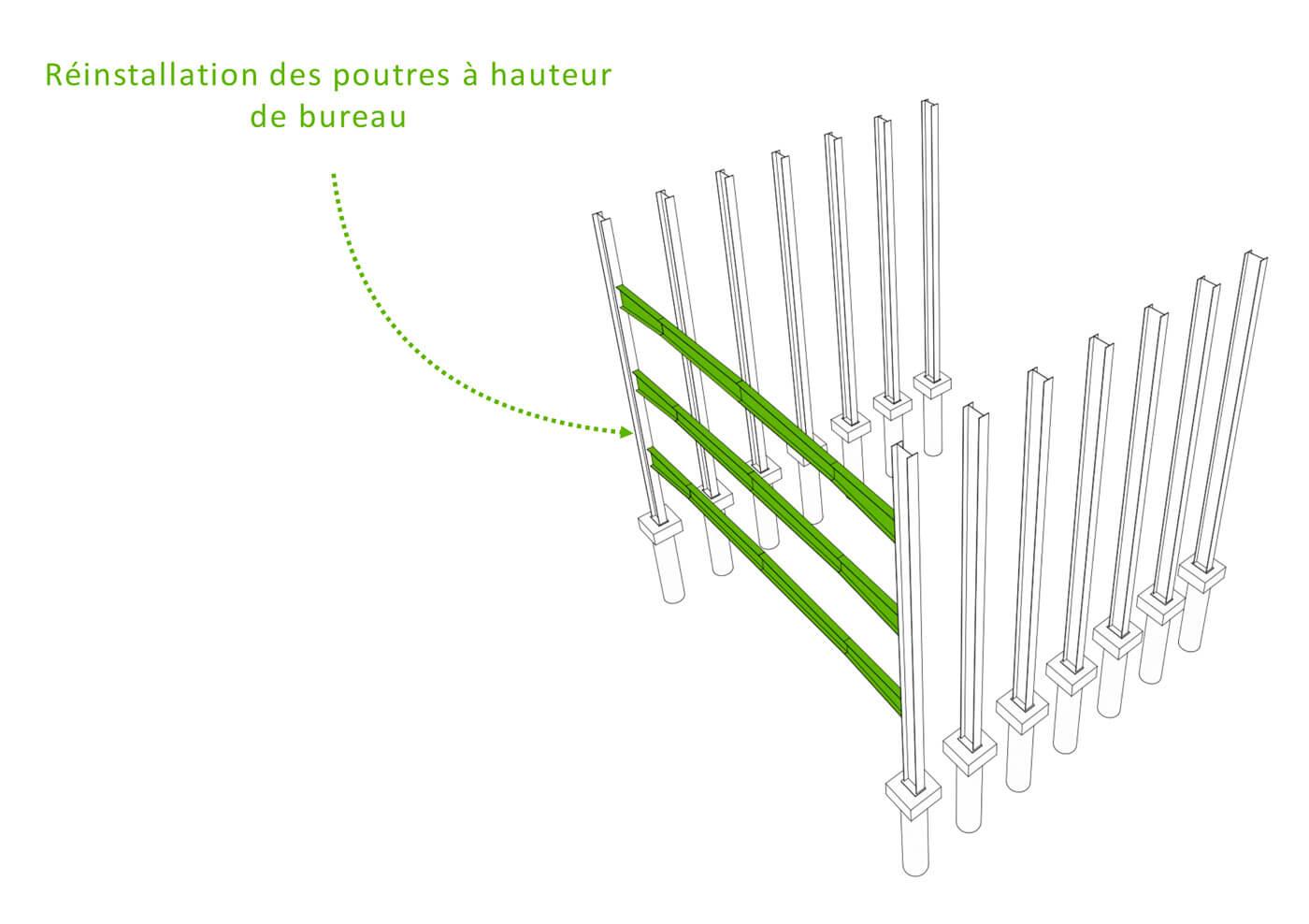 Parking silo Astro réversible en immeuble résidentiel : plateaux démontables et remontables